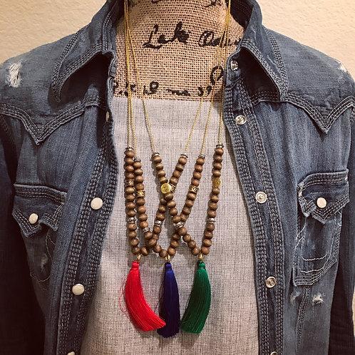 28in Boho Wooden Necklaces w/Tassels