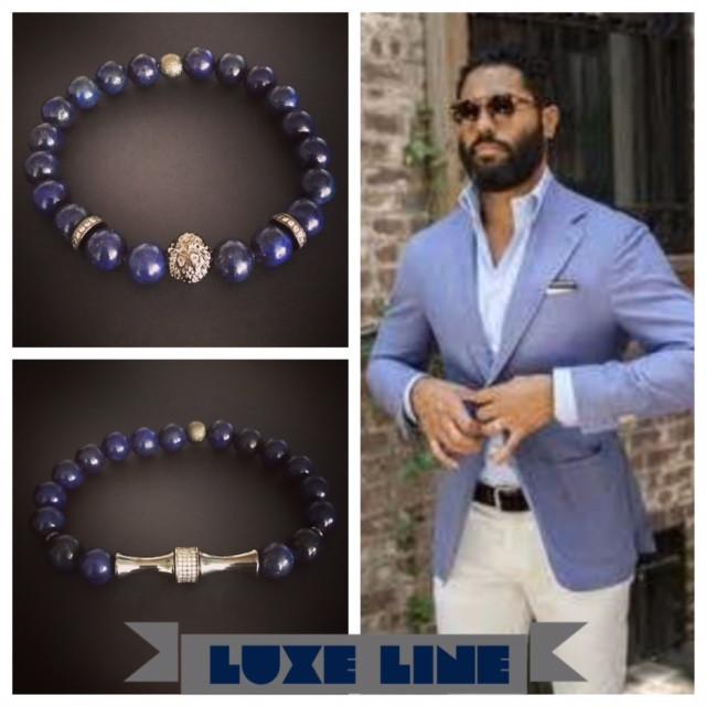 Lapis Beads with Micro-pave