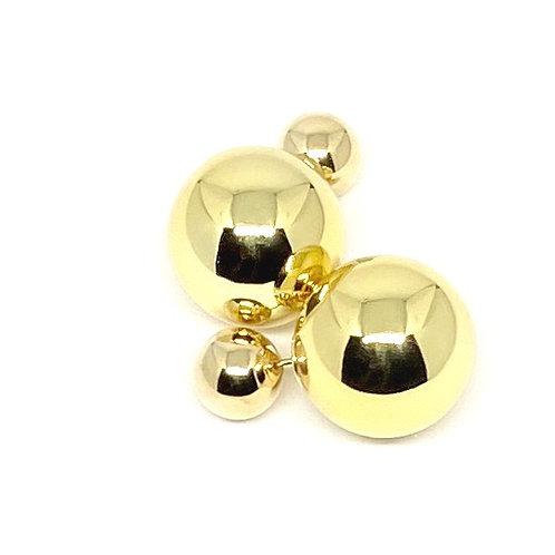 Gold Doublesided Ball Earrings