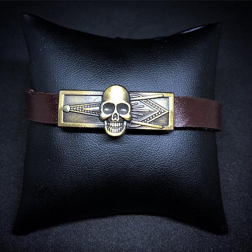 Men's Brown Leather Masonic Bracelet