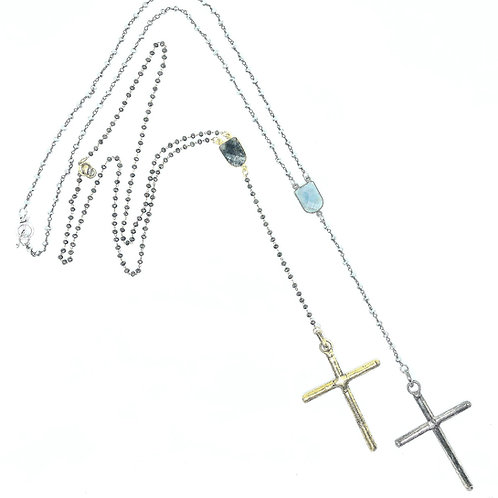 24in Silver & Gold Rosary Necklace