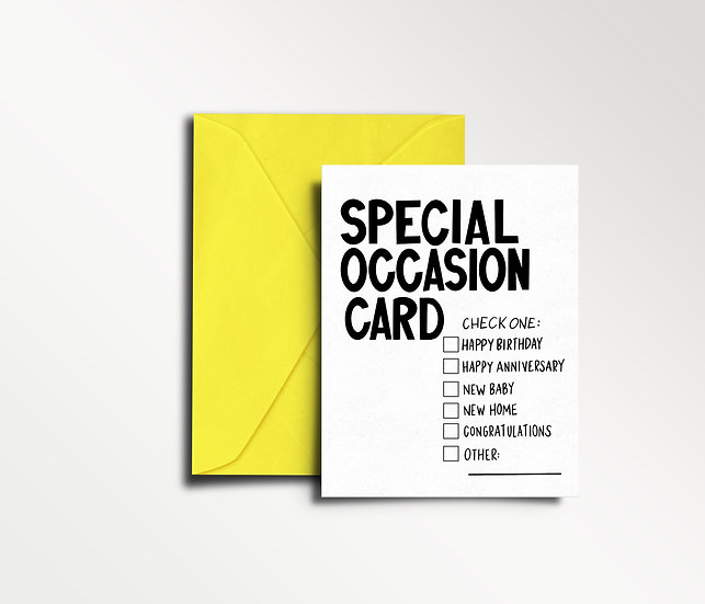 Special Occasion Card (check the box to indicate WHICH special occasion) - Greet
