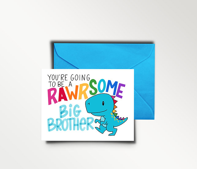 Rawrsome Big Brother/Sister Card