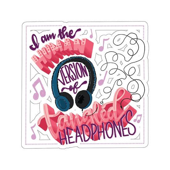 Tangled Headphones Kiss-Cut Sticker