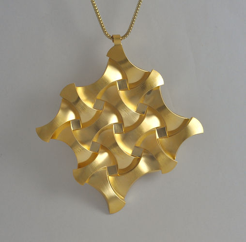 021 Rounded Cubes gold coated necklace s