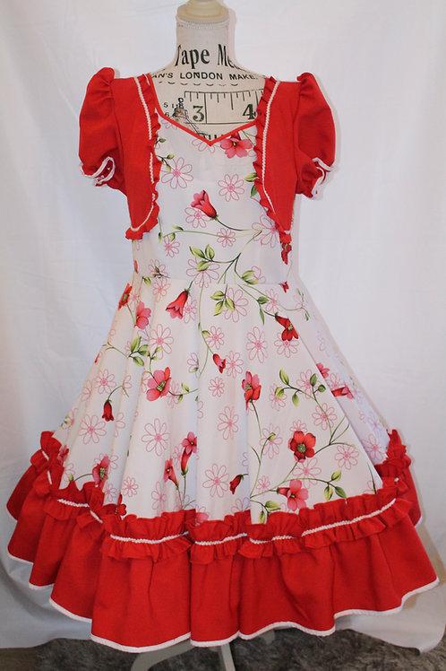 Vestido Rojo y Flores