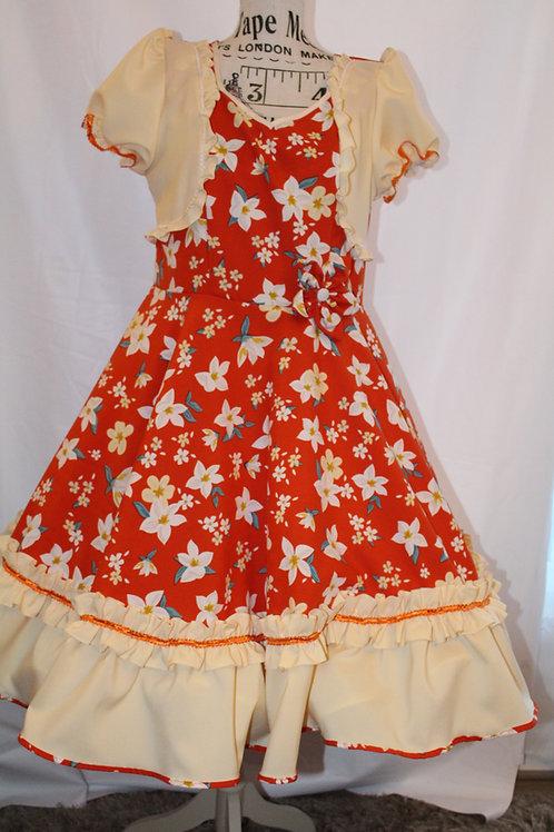 Vestido de Huasa Rojo y flores