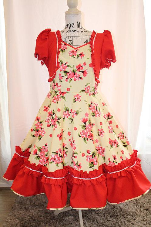 Vestido Huasa Crema Rojo y flores