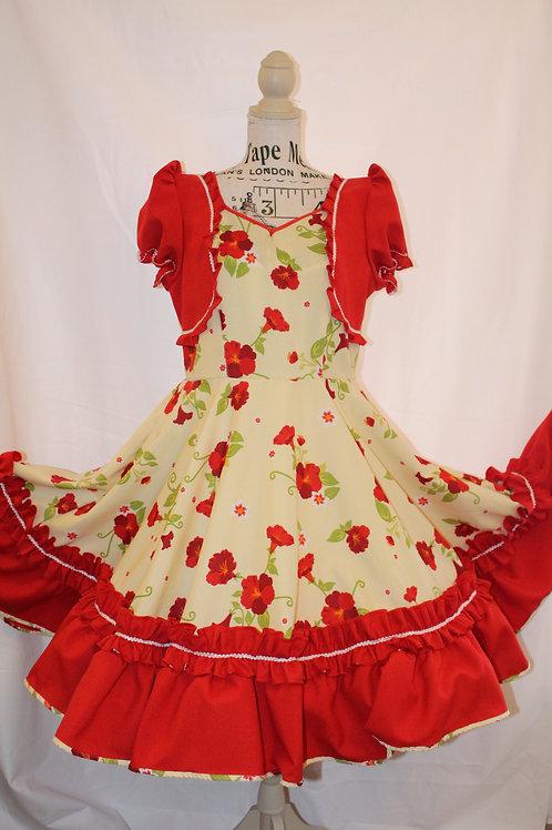 Vestido Floreado En rojo