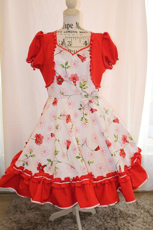 Vestido Floreado en Rojo y Blanco