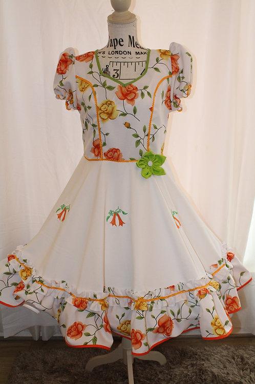 Vestido Huasa Flor Verde