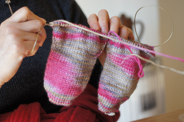靴下編みのワークショップ