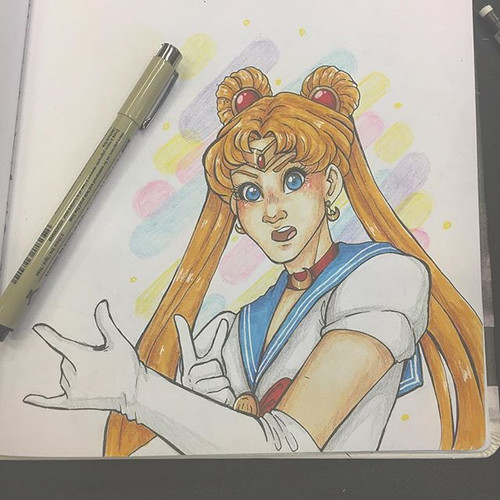 Sailor Moon doodle while at BoilerCon! I
