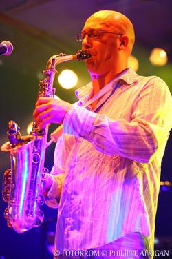Photo de concert, saxophone, éclairage, lumière