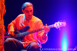 Photo de concert, guitare basse, éclairage, lumière