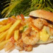Bulaccino Prawn Burger with Hollandaise Sauce & fries