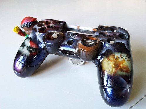 Coque Manette PS4 Custom à l'aérographe !!! Dualshock 4 Sixaxis ! God of War
