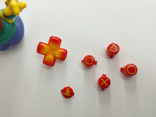 kit Boutons avec dessin des sigles pour manette PS4 peint à l'aérographe