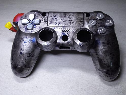 Coque Manette PS4 Custom à l'aérographe !!! Dualshock 4 Sixaxis silver blue
