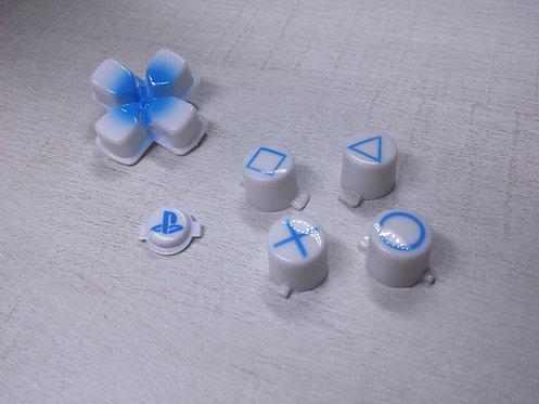 kit Boutons pour manette PS4 blanc et bleu