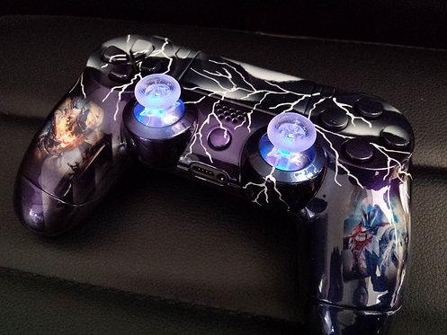 Manette PS4 Custom à l'aérographe !!! Dualshock 4 Sixaxis + led bleu