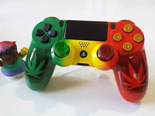 Manette PS4 Custom à l'aérographe !!! Dualshock 4 Sixaxis Rasta weed