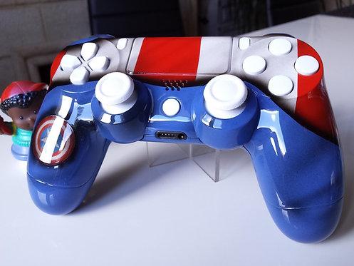 Manette PS4 Custom à l'aérographe !!! Dualshock 4 Sixaxis captain america