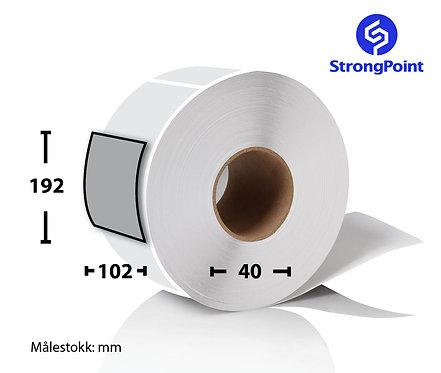 Art.nr.: PSP75099, Fastyre etikett 230 stk. på rull, 102x192 mm, 40 mm kjerne.