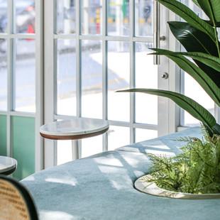 搭襯著舒展的大片綠色植栽,適合一杯茶,一本書,安安靜靜。