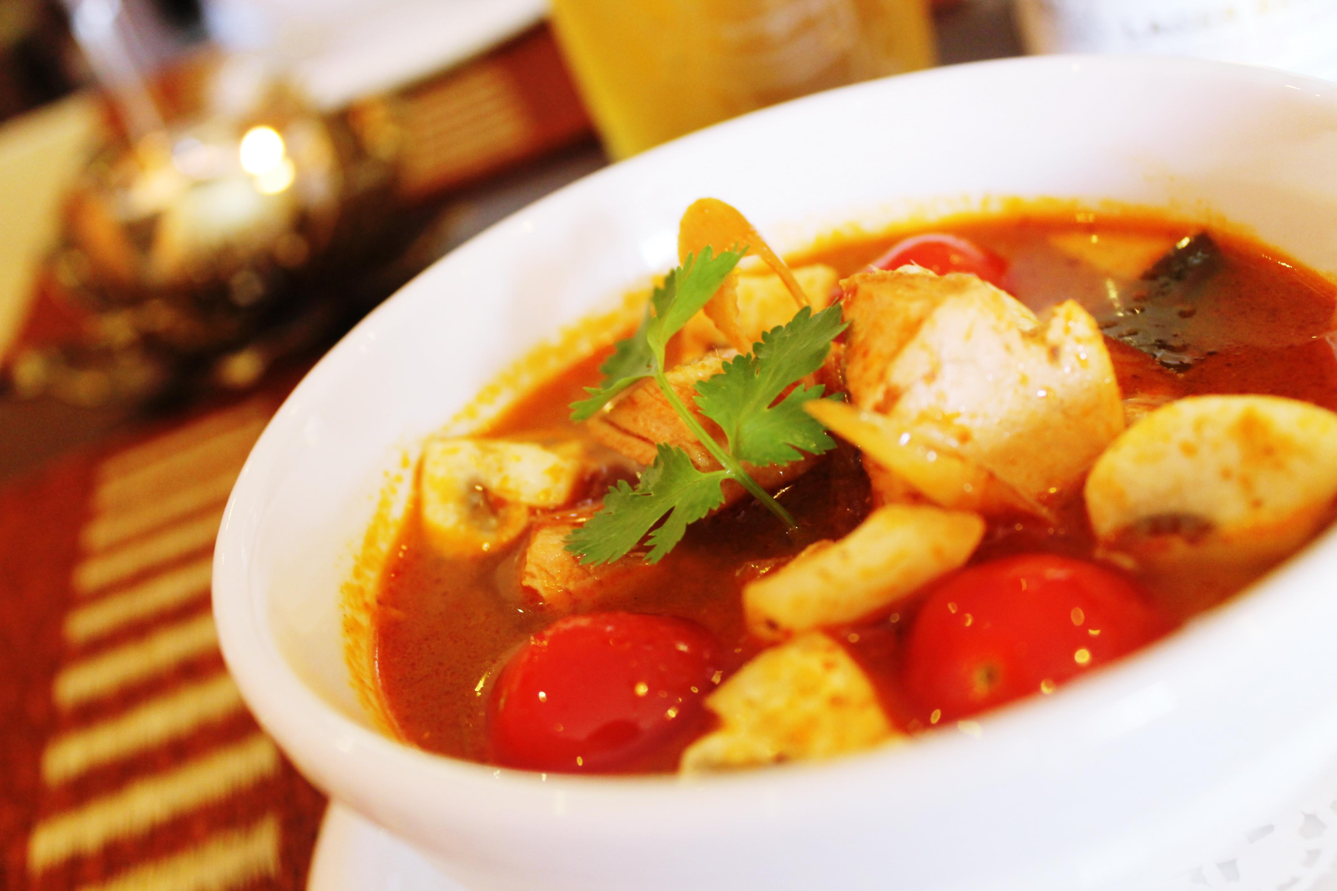 Thai spicy salmon soup