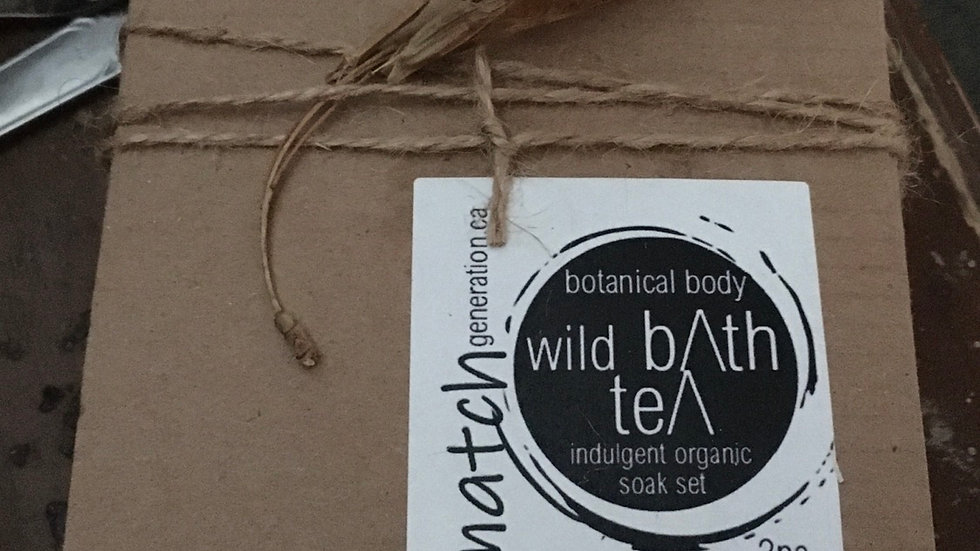 wild bath tea with organic reusable muslin tea sack