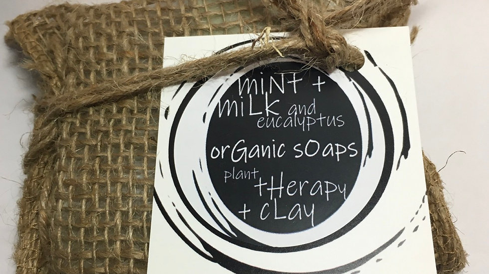 mint + milk and eucalyptus / plant therapy + clay organic soap duo