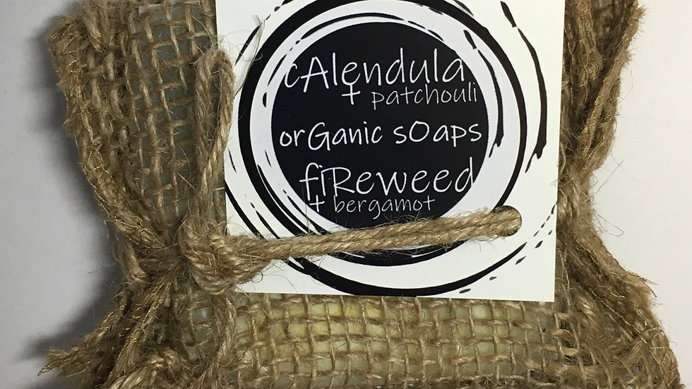 calendula + patchouli  / fireweed +bergamot organic soap duo