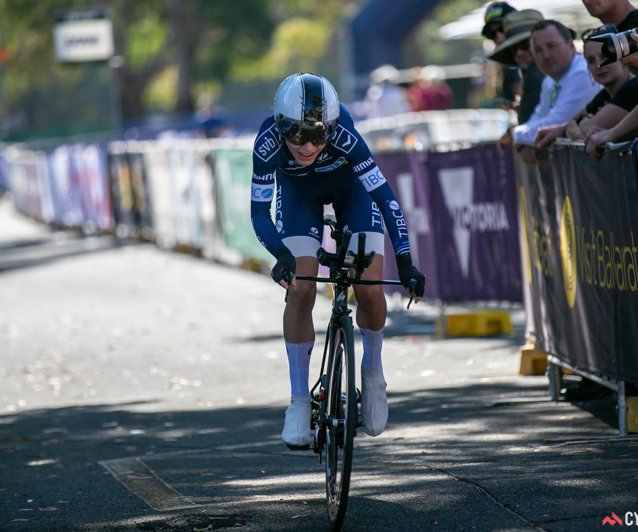 Sarah powers to the finish in the TT