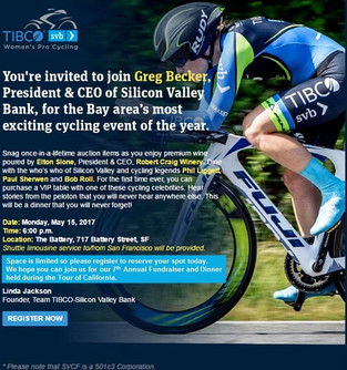 The 7th Annual Team TIBCO- Silicon Valley Bank Fundraiser and  Gala Dinner Invitation