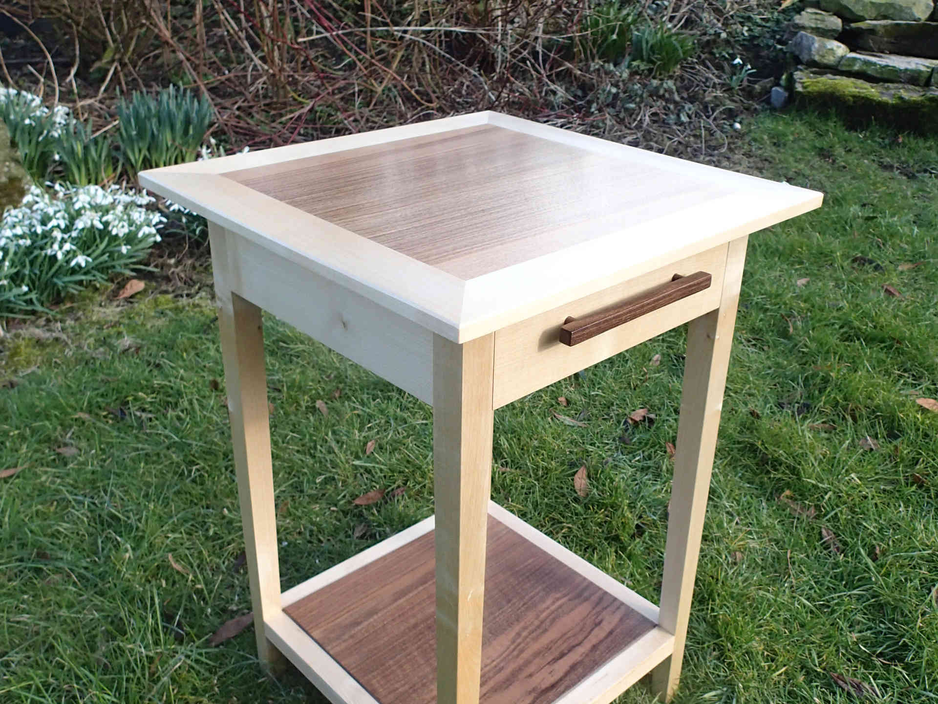 Walnut and sycamore bedside table
