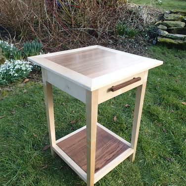 Sycamore and Walnut Bedside Table - £450