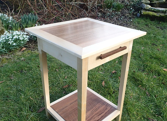 Sycamore and Walnut Bedside Table