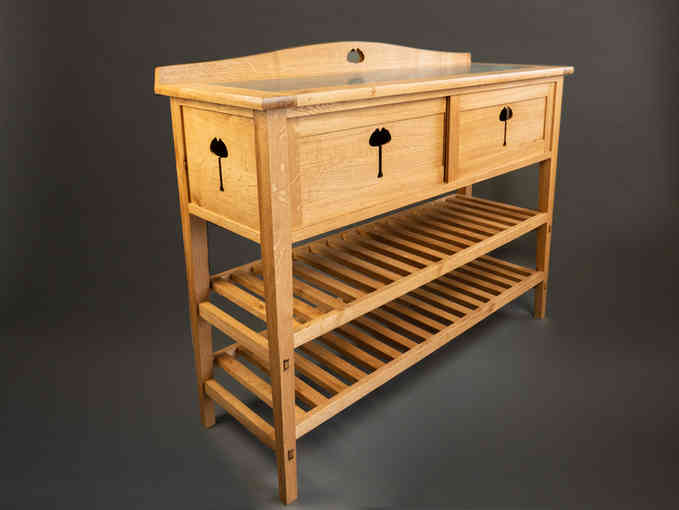 Oak hall table with cupboard for storing shoes