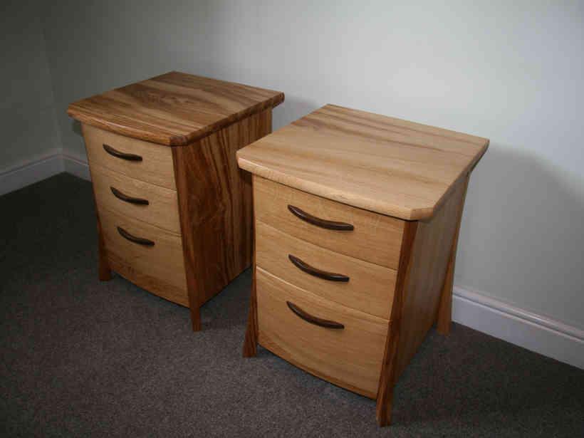 Pair of oak bedside cabinets.