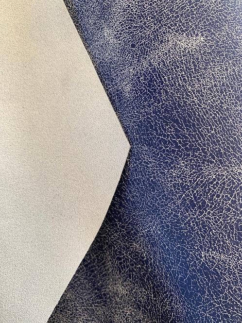 Rundsleder (split) - gewolkt blauw/wit - jeanslook