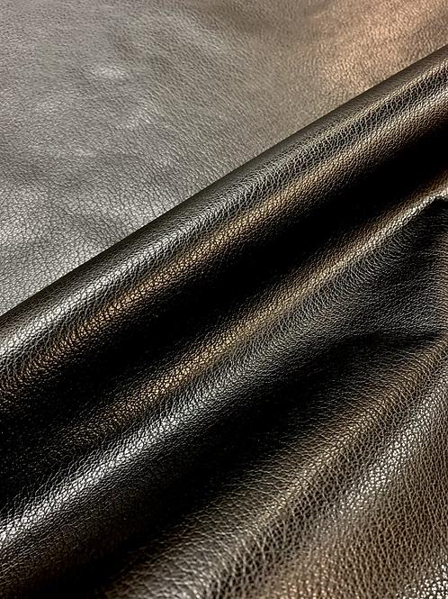 Rundsleder zwart met lichte structuur - 11vt