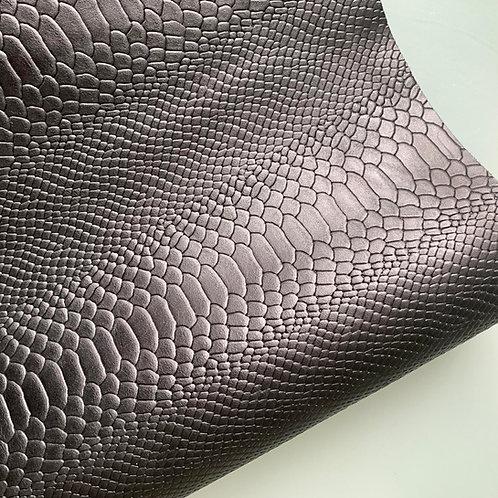 rundleder - zwart, met slangenprint