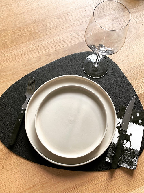 luxe placemats in zwart leder