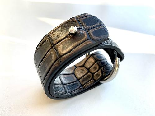 armband in leder - zwart/brons