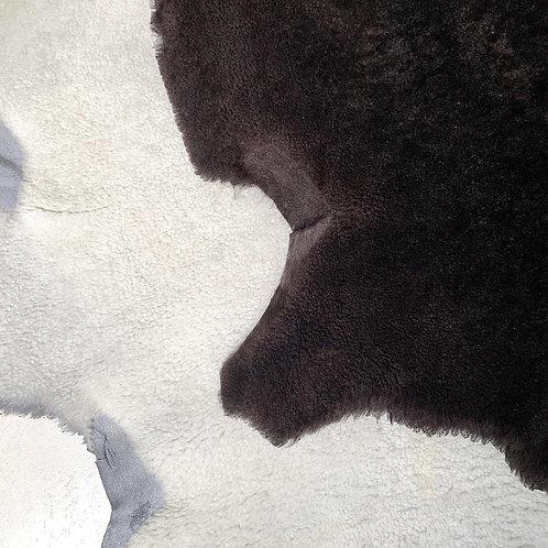 Mouton retourné - lichtgrijs/beige/donkerbruin