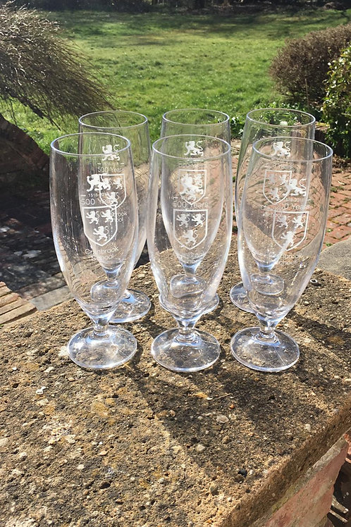 Limited edition Quincentenary Ale Glasses x 6