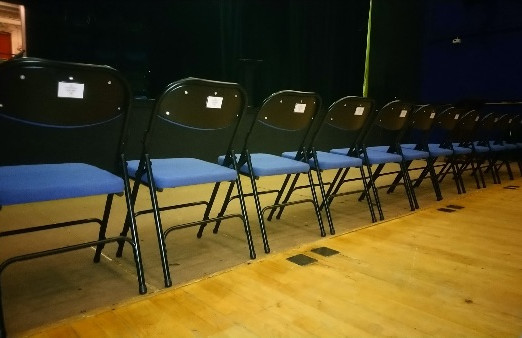 The sponsored chairs with plaques for the Queen's Hall Theatre have arrived!
