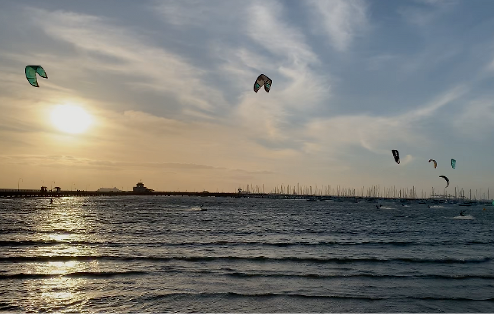 Kite surfers in Melbourne Australia