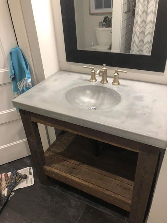Its Not Your Normal Concrete; Single Vanity In Light Gray With A Custom  Reclaimed Base ...